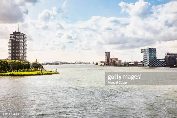 view of river and skyscrapers, rotterdam, south holland, netherlands - rio nieuwe maas - fotografias e filmes do acervo