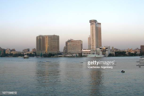 view of river nile in cairo, luxury hotels, egypt - argenberg stock pictures, royalty-free photos & images