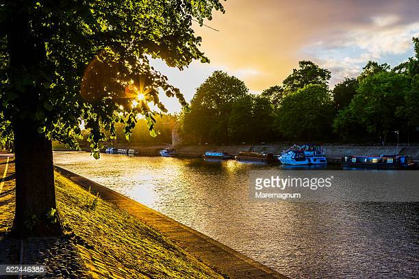 view of river ouse at sunset - ouse river stock photos and pictures
