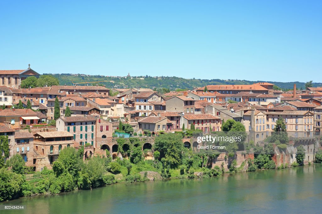 View of River Tarne and the new city from the formal gardens of the Palais de Berbie in Albi, France. : Stock Photo