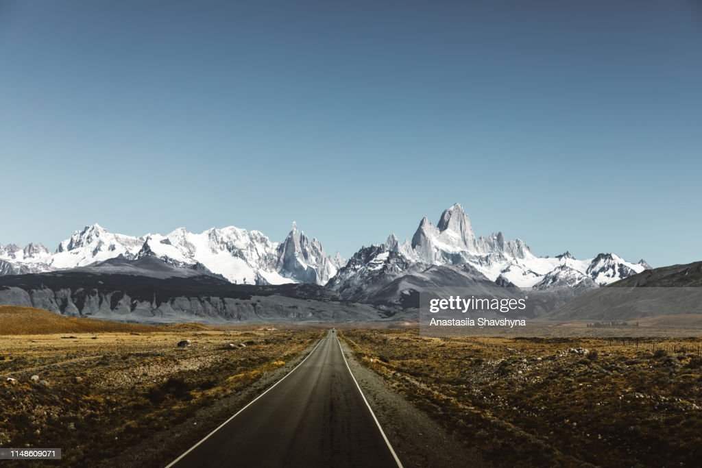View of road to Fitz Roy in Patagonia : Stock Photo