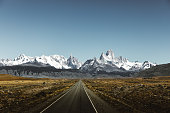 View of road to Fitz Roy in Patagonia