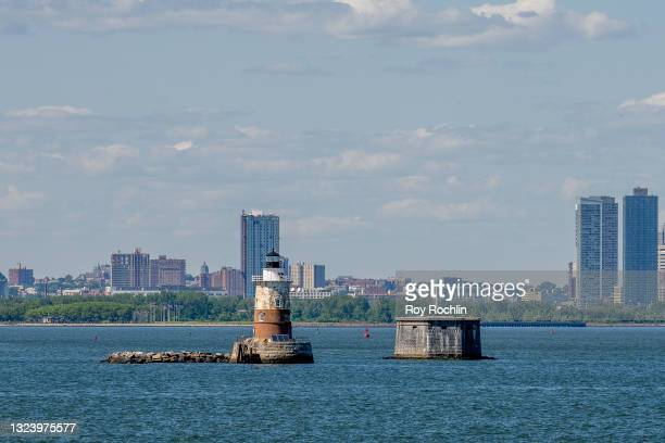 View of Robbins Reef Light Station as seen from the Staten Island Ferry on June 16, 2021 in New York City. First lit in 1883, the lighthouse was...