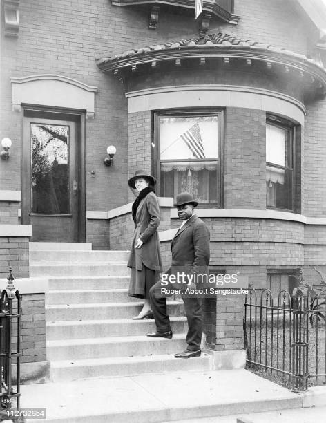 View of Robert Sengstacke Abbott and his wife Helen, at their house on 4847 Champlain Avenue, Chicago, IL, 1918. Sengstacke founded the Chicago...