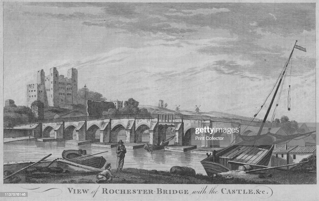 View Of Rochester Bridge With The Castle : News Photo