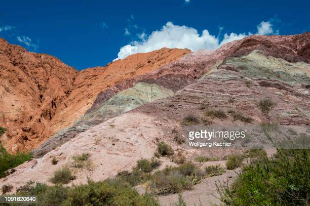 View of rock formations Cerro de los Siete Colores, in the Andes Mountains in Purmamarca, Jujuy Province, Northwestern Argentina.