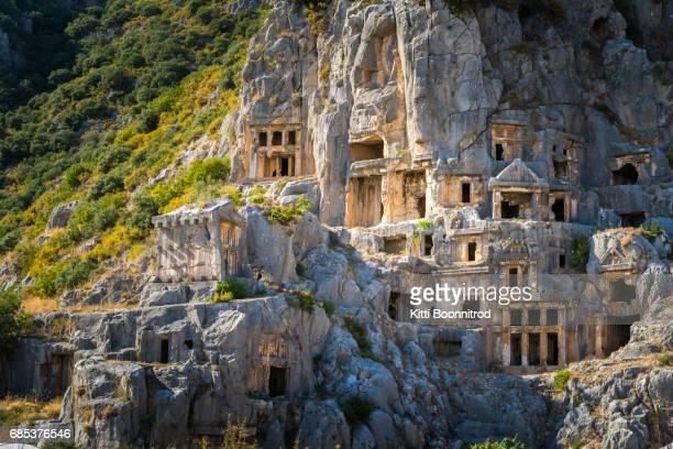 View of Rock-cut tombs in Myra, Turkey