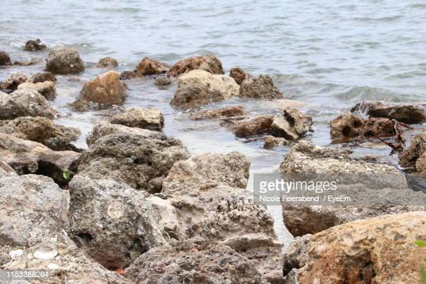 view of rocks by sea at beach - feierabend photos et images de collection