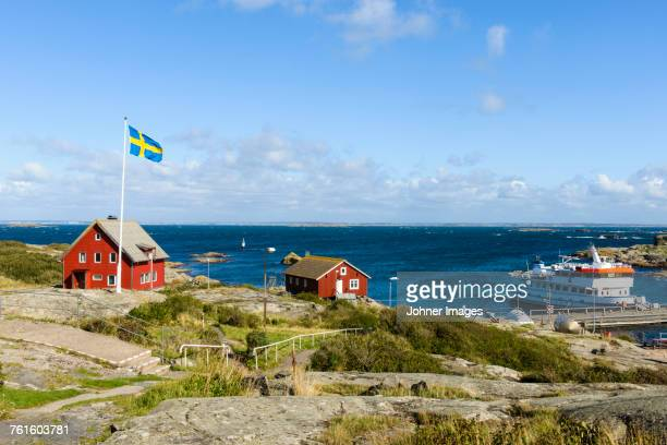 view of rocky coast - gothenburg stock pictures, royalty-free photos & images