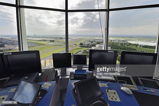 View of Roissy Charles de Gaulle airport is seen from a control tower on September 17 2014 Air France scrapped more than half its flights as pilots...