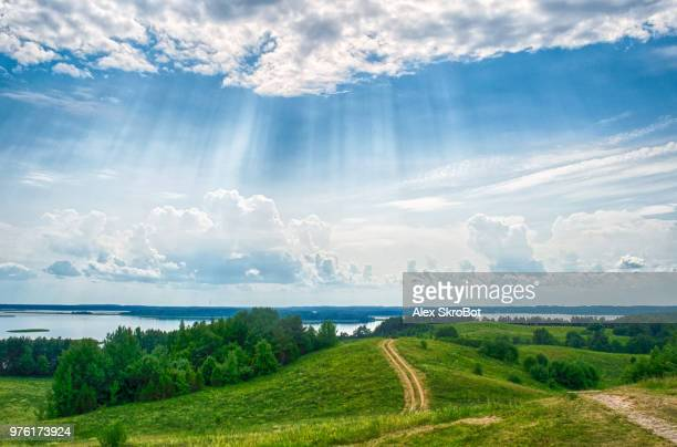 view of rolling landscape, belarus - belarus stock pictures, royalty-free photos & images