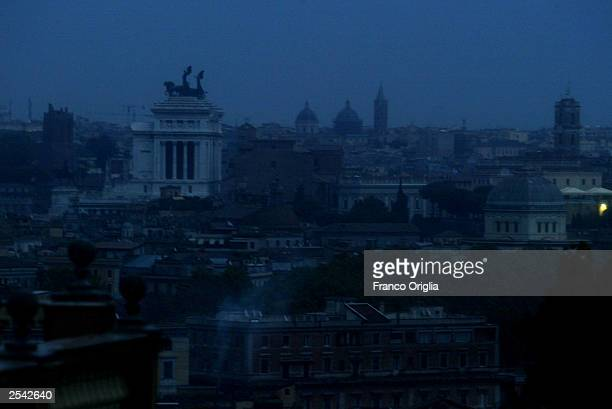 A view of Rome from the Gianiocolo is seen during a nationwide blackout September 28 2003 in Rome Italy The power outage affected most of the...