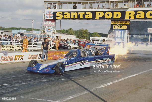 View of Ron Picardo Racing drag racing car named Force II propelled by a jet engine during competition in the World Finals at Santa Pod Raceway in...
