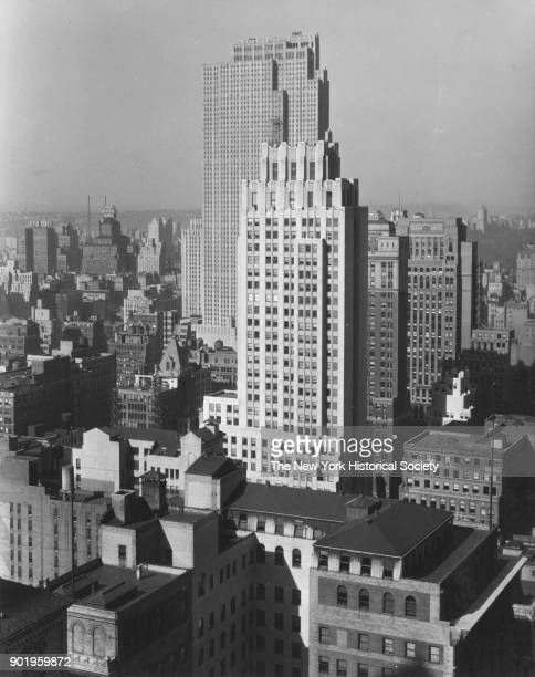 View of rooftops looking northwest towards Rockefeller Center and the Park Central Hotel from just south of the Lefcourt Colonial Building on 41st...