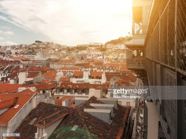 View of rooftops of Lisbon from the Santa Justa Lift (Elevador de Santa Justa), Portugal