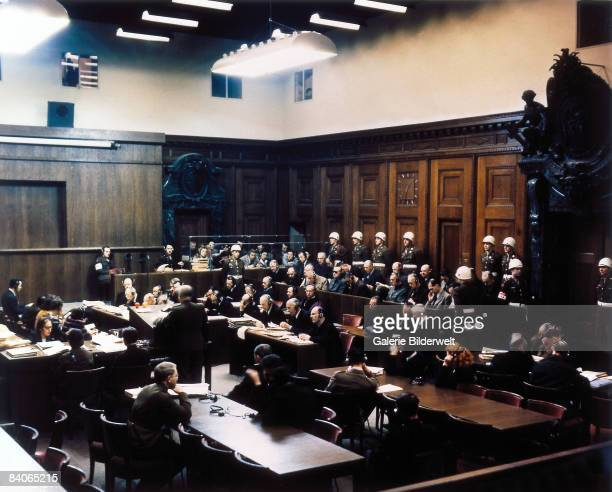 View of Room 600 at the Palace of Justice during proceedings against leading Nazi figures at the International Military Tribunal , Nuremberg,...