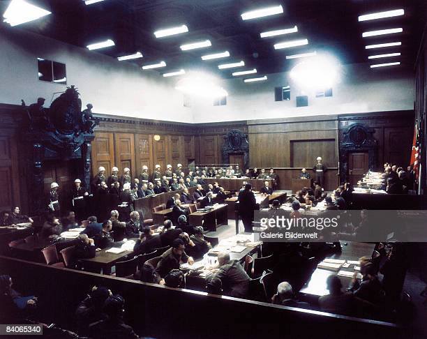 A view of Room 600 at the Palace of Justice during proceedings against leading Nazi figures at the International Military Tribunal Nuremberg Germany...