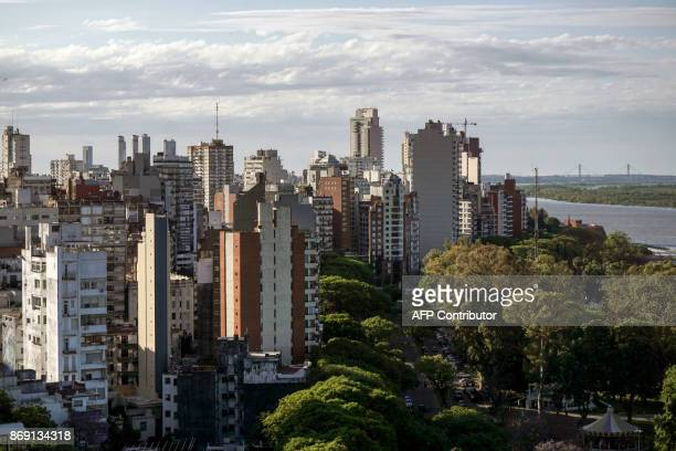 View of Rosario city in the province of Santa Fe Argentina on the western shore of the Parana River on November 1 2017 Five Argentine citizens from...