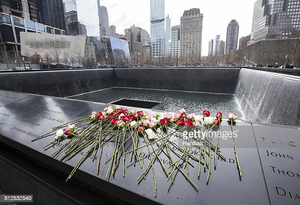 A view of roses on the Memorial left for the victims during the 22nd Anniversary Ceremony of the 1993 World Trade Center bombing on February 26 2015...