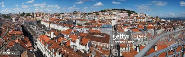view of  rossio square (praça rossio)  from the santa justa elevator, lisbon, portugal - ロッシオ広場 ストックフォトと画像