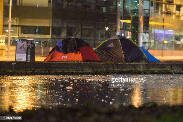 View of rough sleeper's tents next to the Grand Canal in Dublin during Level 5 Covid-19 lockdown. This evening, the Department of Health reported...