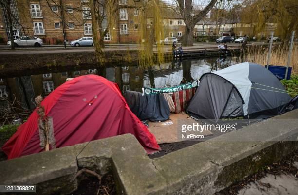 View of rough sleeper's tents next to the Grand Canal in Dublin during Level 5 Covid-19 lockdown. On Wednesday, February 24 in Dublin, Ireland.