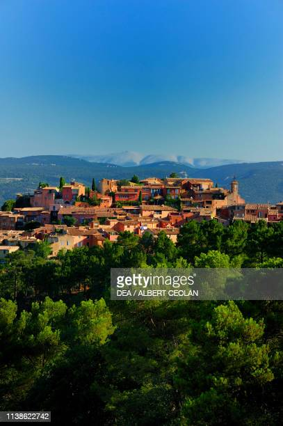 View of Roussillon, Mont Ventoux in the background, Provence-Alpes-Cote d'Azur, France.