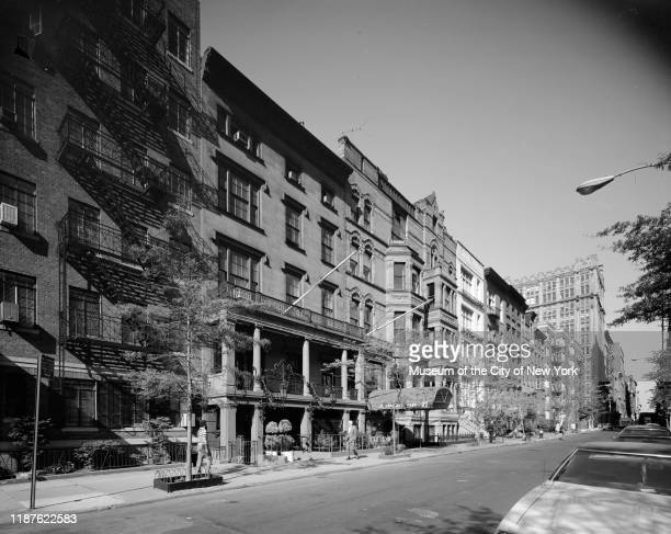 View of row houses including the National Arts Club at 15 Gramercy Park South, New York, New York, circa 1977.