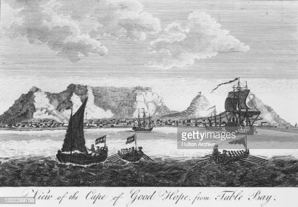 A view of rowing boats and ships in Table Bay with Cape Town and Table Mountain in the background South Africa 1766 Engraving by PC Canot after a...