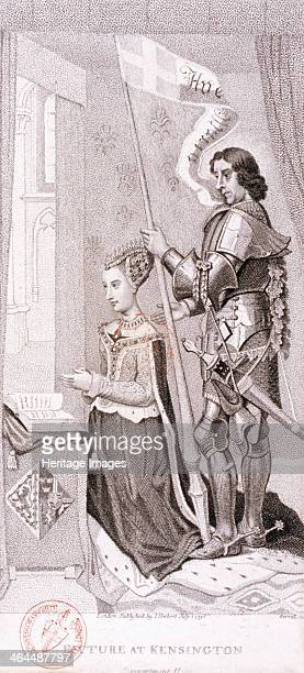 View of royalty kneeling accompanied by an armoured knight, 1796.