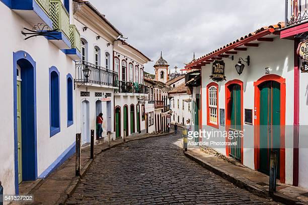 view of rua (street) dos paulistas, on the background the igreja (church) de nossa senhora da conceicao - rua fotografías e imágenes de stock