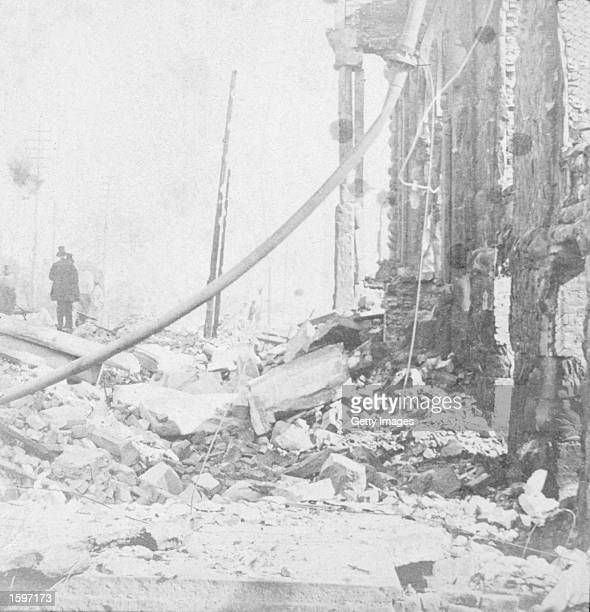 View of rubble and wreckage in Washington Street, East of LaSalle Street, following the great Chicago fire of 1871, Chicago, Illinois, 1871.