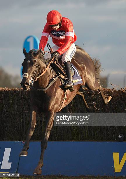 View of Ruby Walsh riding Sanctuaire clearing the last fence to win the William Hill Desert Orchid Chase during the Winter Festival meeting at...