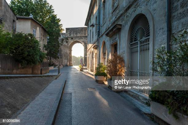 View of  Rue Ferruce and city wall. Avignon, Provence-Alpes-Côte d'Azur, France