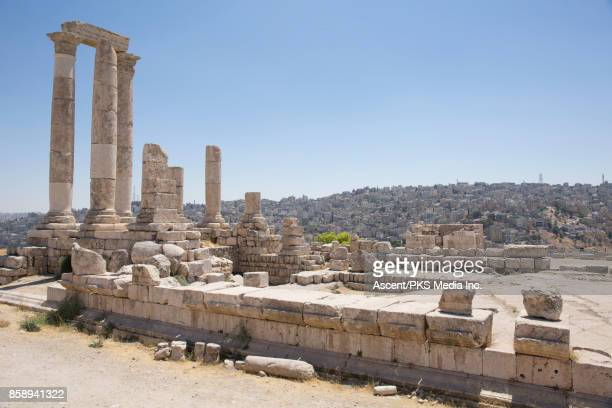 View of ruins and cityscape behind, Amman Citadel