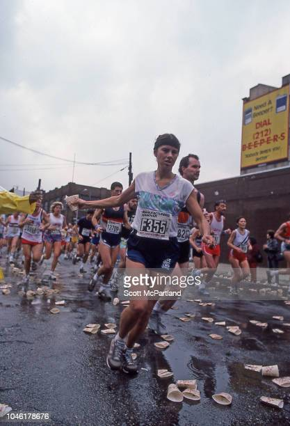 View of runners as they pass the 10 mile marker on Bedford Avenue during the New York City Marathon Brooklyn New York New York November 2 1986 The...
