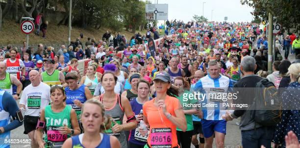 A view of runners during the Great North Run in Newcastle