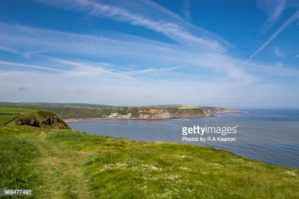 view of runswick bay from the cleveland way footpath, north yorkshire - cliff stock photos and pictures