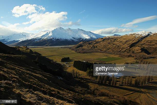 A view of rural farmland from the Southern Alps on July 28 2011 in Wanaka New Zealand