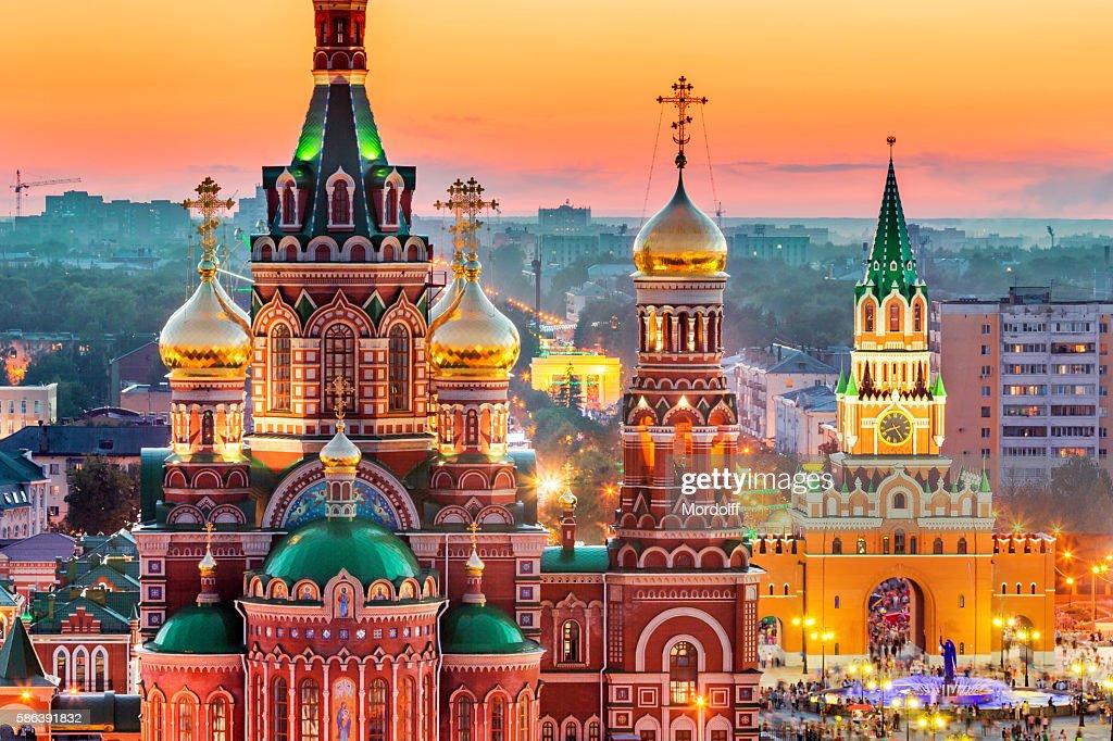 View of Russian City at Sunset : Bildbanksbilder