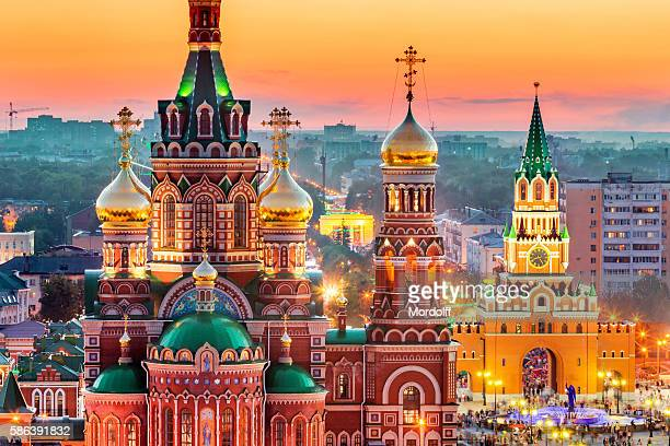 view of russian city at sunset - rusia fotografías e imágenes de stock