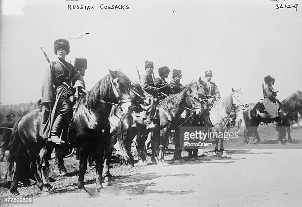 View of Russian Cossacks on horseback in World War I circa 1914