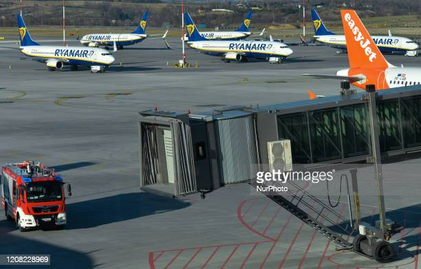 A view of Ryanair planes grounded at the John Paul II KrakowBalice International Airport Ryanair annouced grounding 90% of its flights until 2 April...