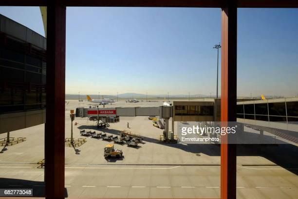 view of sabiha gokcen airport from inside. - emreturanphoto bildbanksfoton och bilder