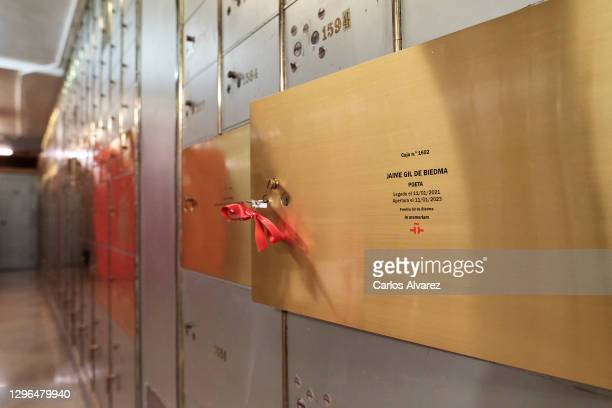 View of safe deposit box of Jaime Gil de Biedma poet legacy at the Instituto Cervantes on January 15, 2021 in Madrid, Spain.