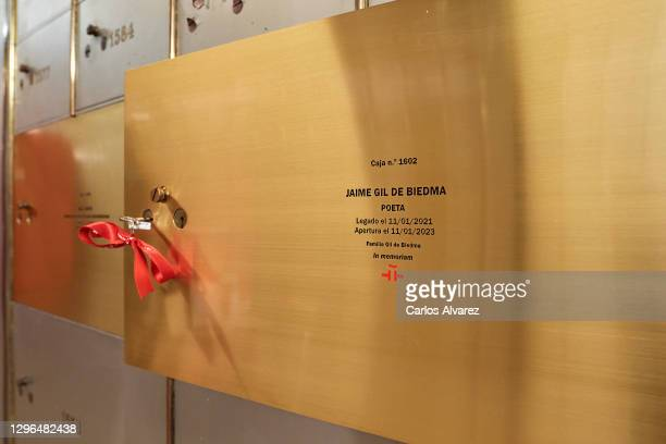 View of safe deposit box of Jaime Gil de Biedma poet legacy at the Cervantes Institute on January 15, 2021 in Madrid, Spain.
