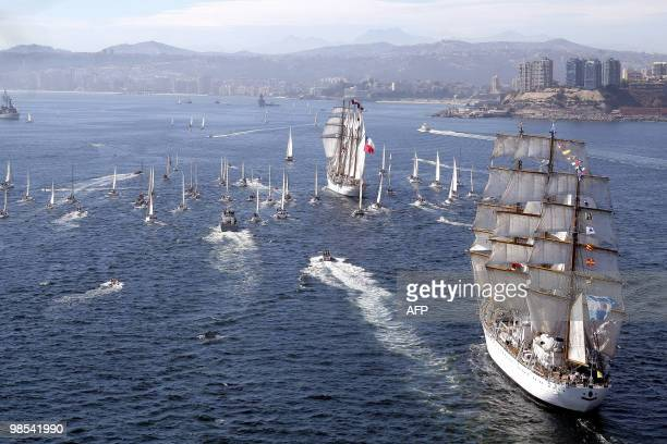 View of sailboats Esmeralda of Chile and Libertad of Argentina sailing away from the port of Valparaiso Chile April 18 during the Bicentennial race...