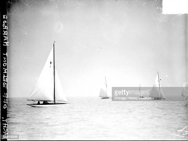 View of sailboats sailing in Lake Michigan off of Belmont Harbor located in the Lake View community area of Chicago Illinois 1929