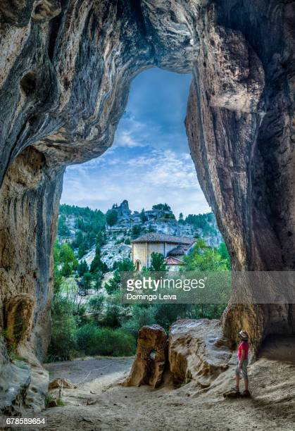 View of Saint Bartholomew hermitage from a cave in Rio Lobos canyon in Soria province, Spain