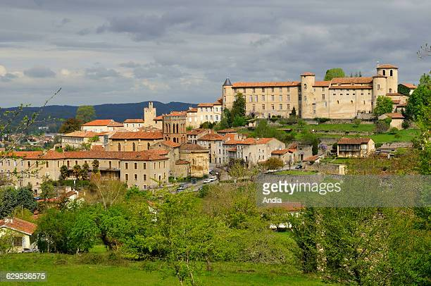 View of Saint Lizier the village the 'Palais des Eveques' the Cathedral of NotreDamedelaSede and the typical octogonal steeple of the Church of Saint...